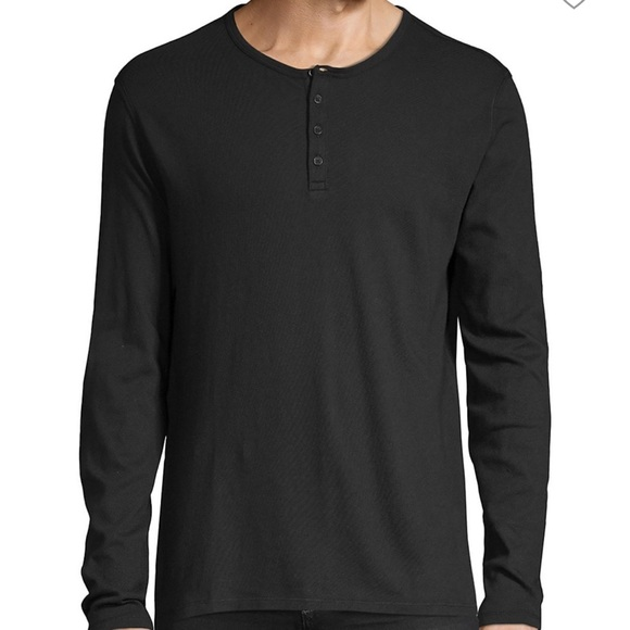 VINCE Pima Cotton Gray Long Sleeved Henley Large